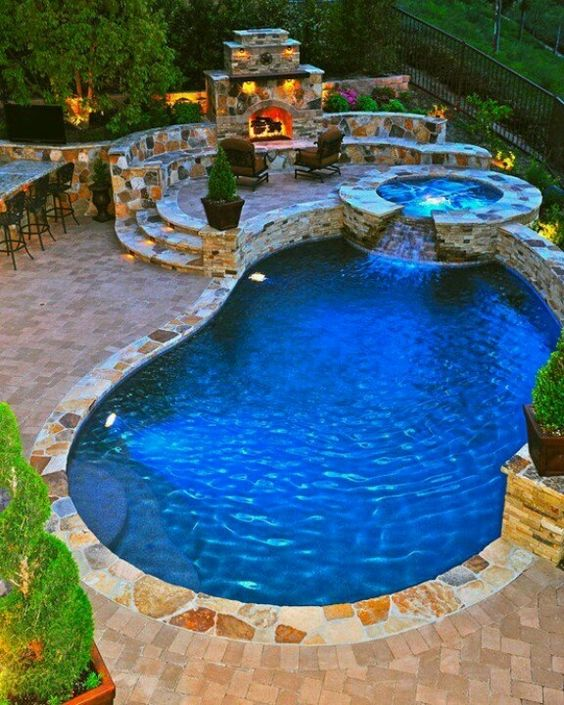 swimming pool with hot tub ideas 12