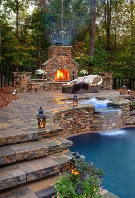 swimming pool with hot tub ideas 13