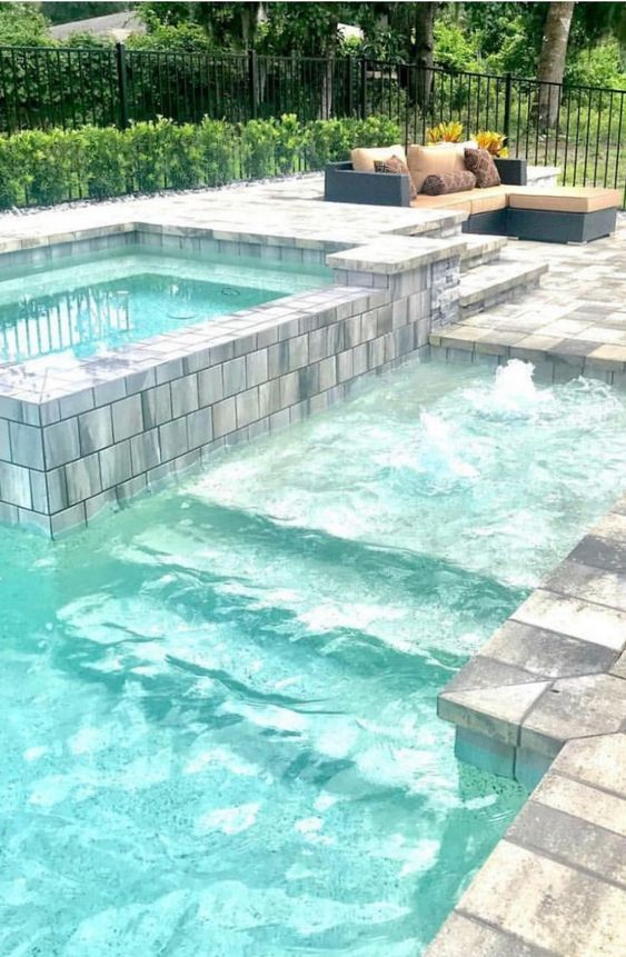 swimming pool with hot tub ideas 15