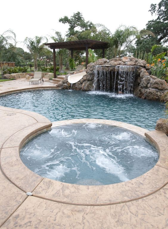 swimming pool with hot tub ideas 17