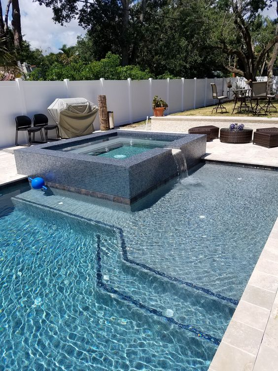 swimming pool with hot tub ideas 4