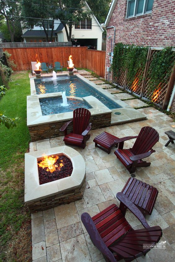 swimming pool with hot tub ideas 6