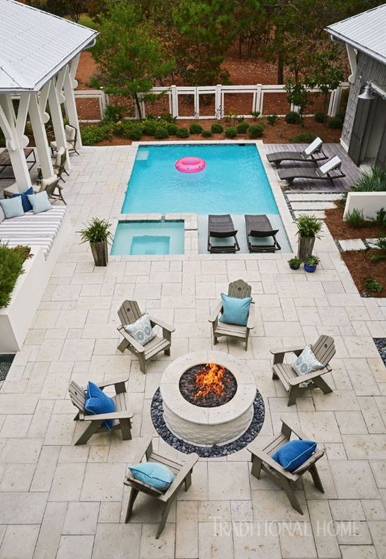 swimming pool with hot tub ideas 7