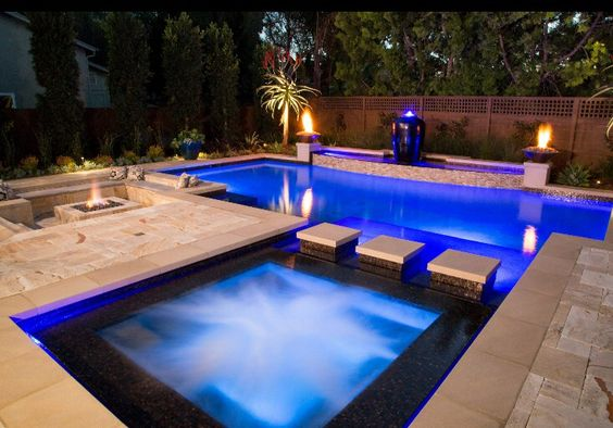 swimming pool with hot tub ideas feature