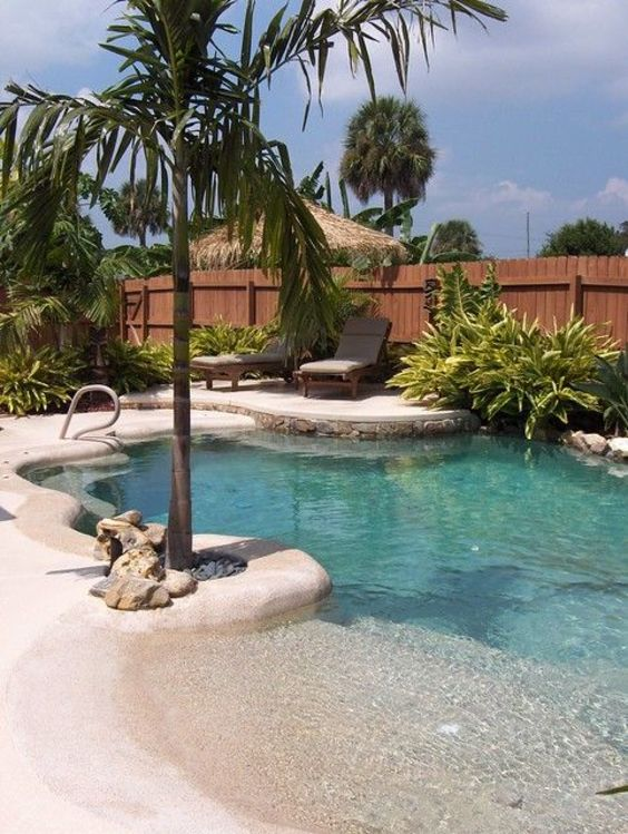 beach entry swimming pool ideas 15