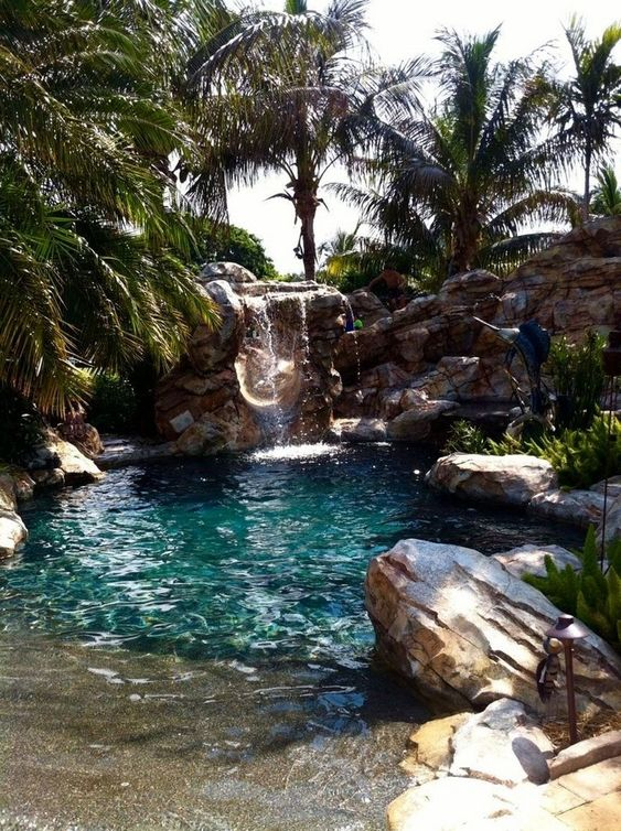 Beach Entry Swimming Pool Ideas: Rocky Beach Entry