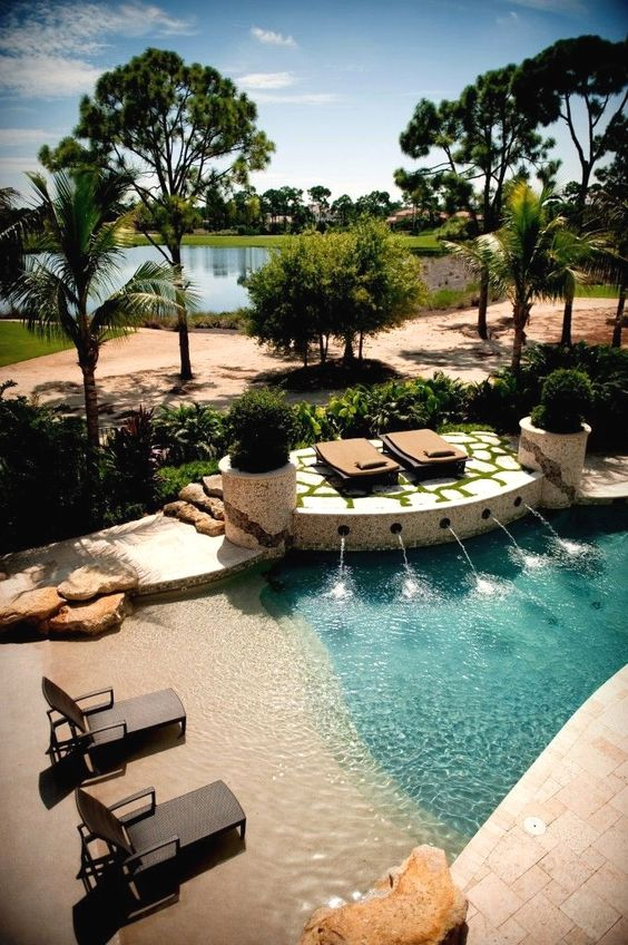 Beach Entry Swimming Pool Ideas: Private Resort Feel