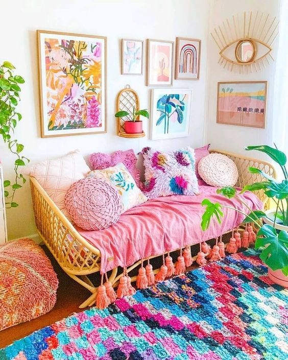 bohemian living room ideas 19