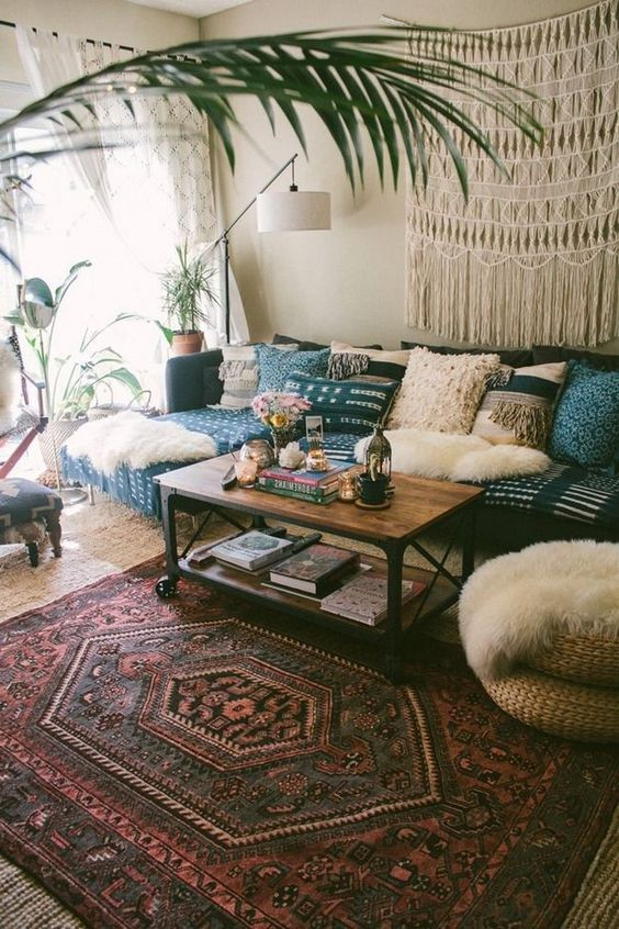 Bohemian Living Room Ideas: Combine Texture and Pattern