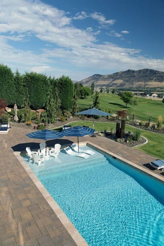 Rectangular Swimming Pool Ideas: Slim Rectangular Pool
