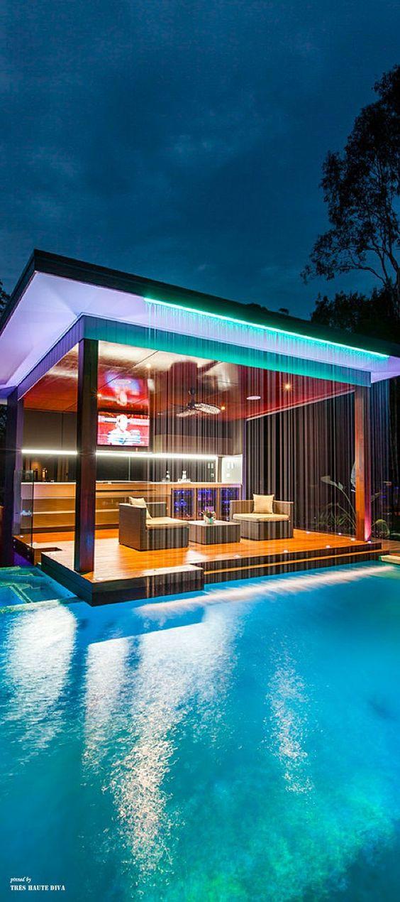 Swimming Pool Waterfall Ideas: Waterfall Privacy