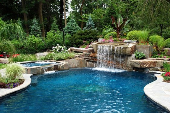 swimming pool waterfall ideas