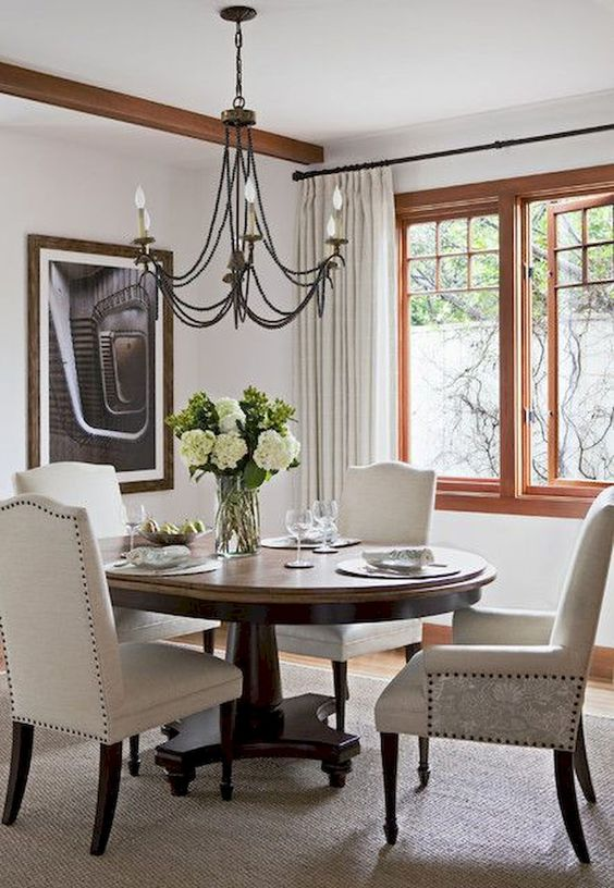 Transitional Dining Room Ideas: Earthy Light Gray