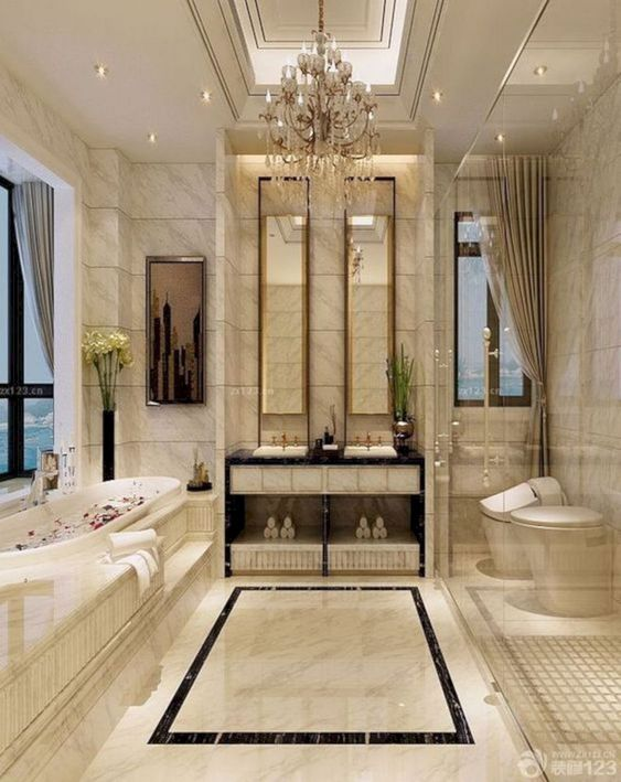 Bathroom Lighting Ideas: Enchanting Chandelier