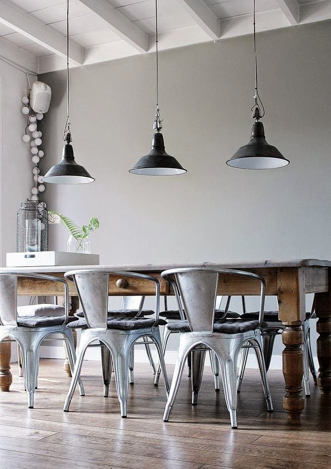 Industrial Dining Room Ideas: Silver and Earthy Element