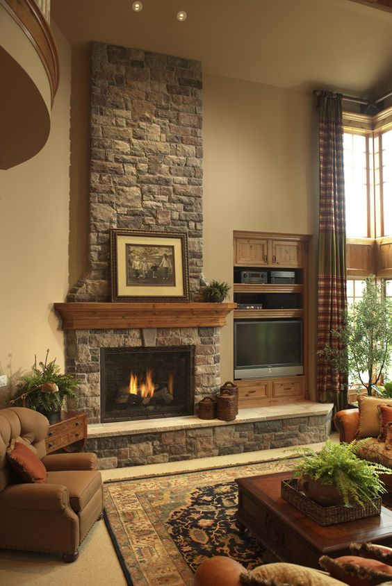 Living Room with Fireplace Ideas: Earthy Stone Fireplace