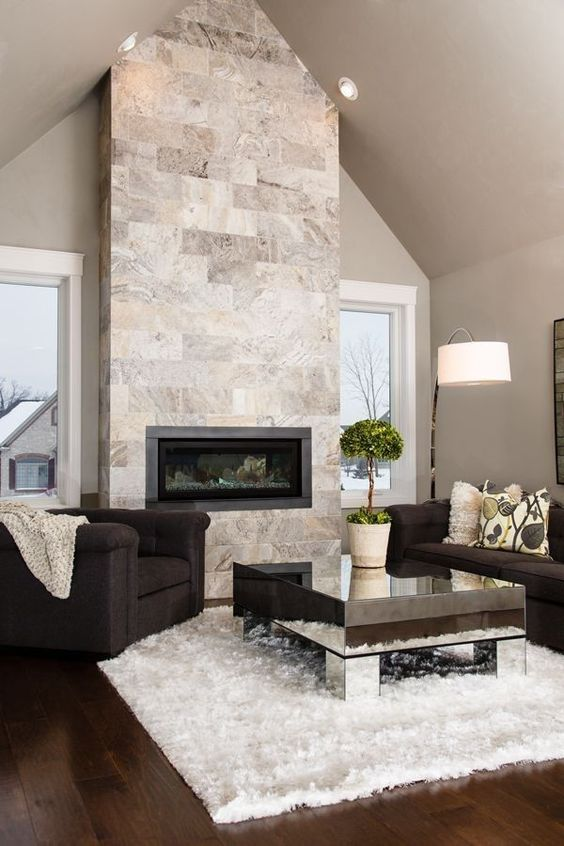 Living Room with Fireplace Ideas: Modern Living Room