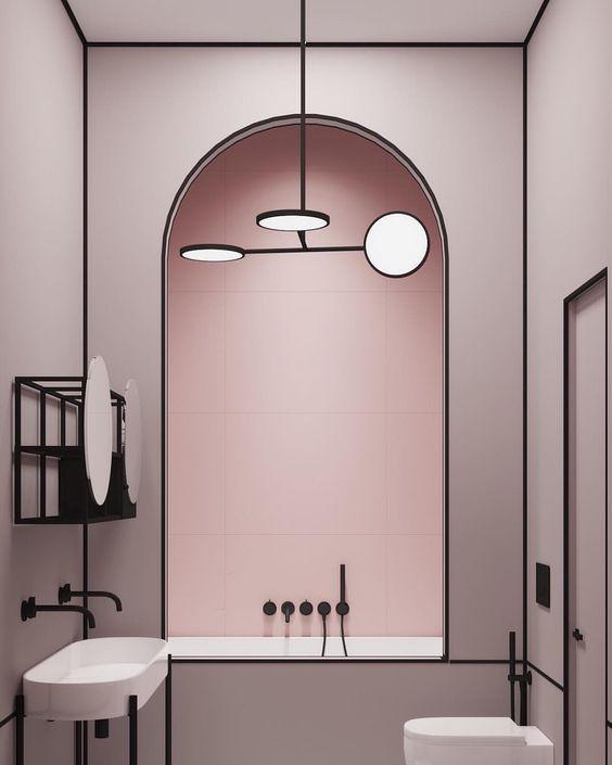 Pink Bathroom Ideas: Modern Pink Bathroom