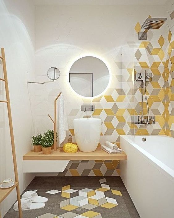 Yellow Bathroom Ideas: Unique Wall Decor