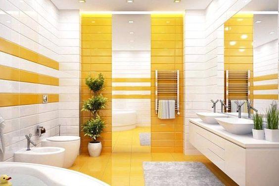 Yellow Bathroom Tiles Image Of Bathroom And Closet