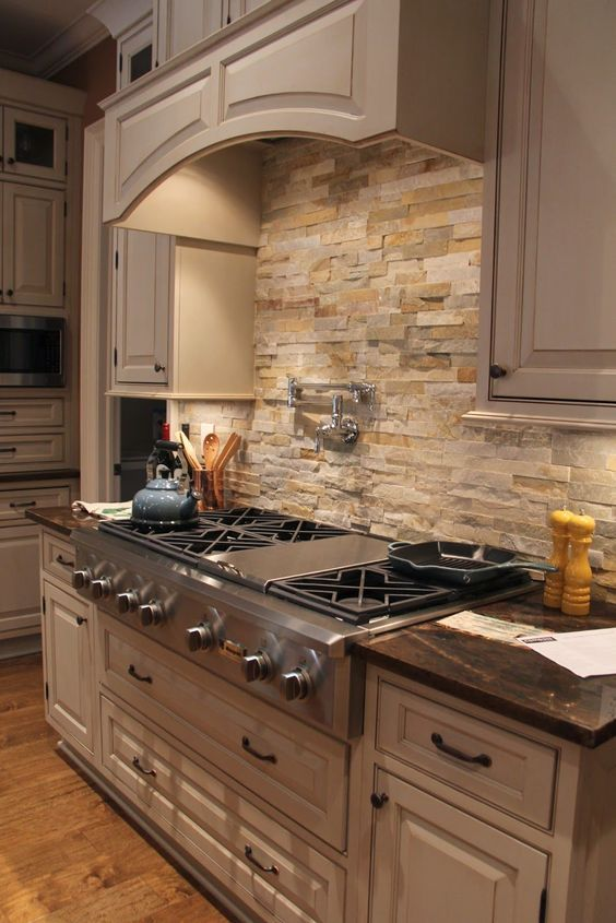Kitchen Backsplash Ideas: Earthy Rocky Backsplash