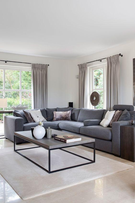 Sectional Living Room Ideas: Elegant Gray Living Room