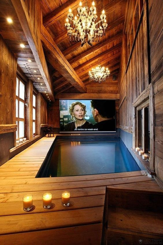 Swimming Pool Decorations Ideas: Private Movie Studio