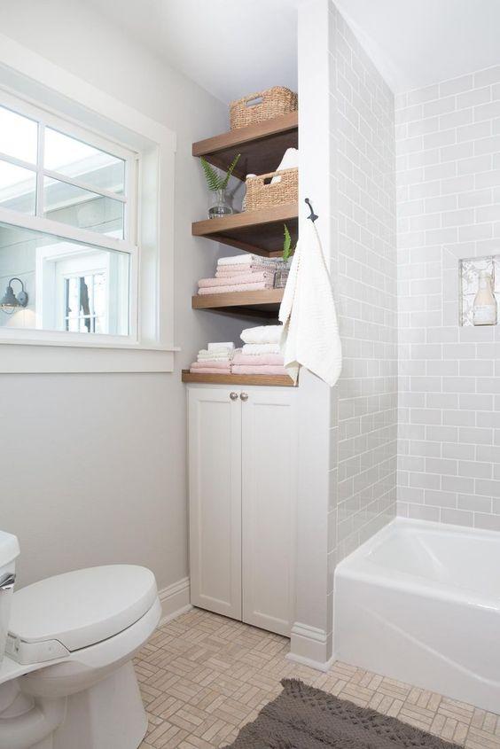 Bathroom Shelves Ideas: Lovely Earthy Shelves