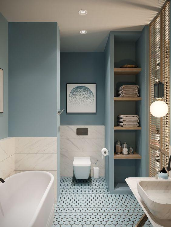 Bathroom Shelves Ideas: Matching Open Shelves