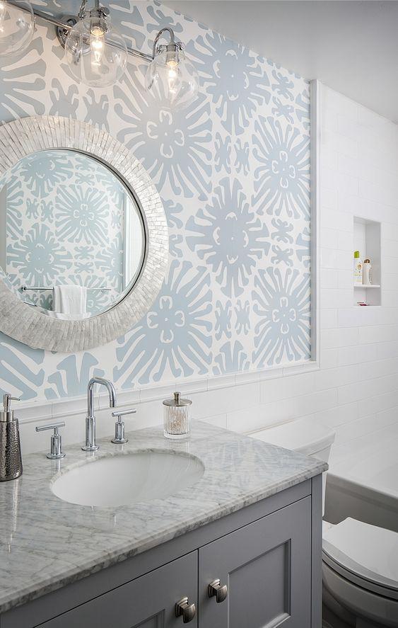 Bathroom Wallpaper Ideas: Beachy Blue Wallpaper