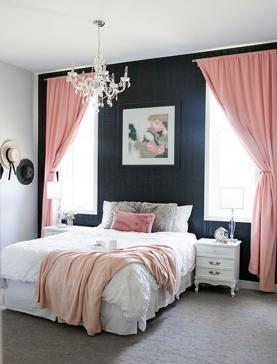Bedroom Pink Ideas: Bold Black and Pink