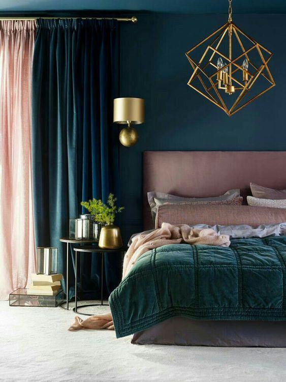 Dark Bedroom Ideas: Navy and Pink
