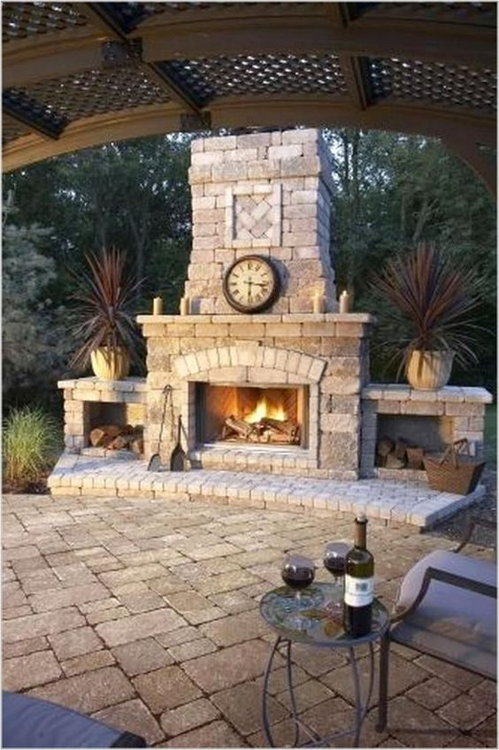 Backyard Fireplace Ideas 17