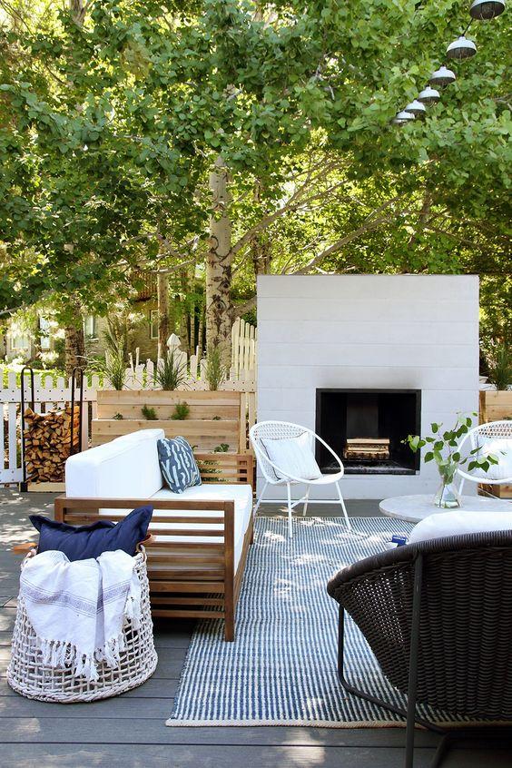 Backyard Fireplace Ideas: Modern Farmhouse Design
